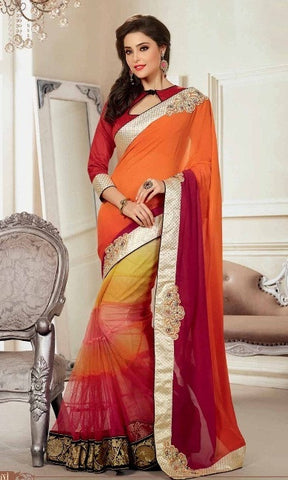 Saree Orange , Red,Half georgette , Half net