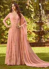 Peach Georgette Party Wear Anarkali Suit With Peach Dupatta