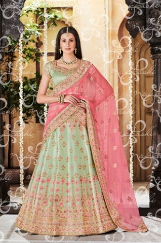 Green Net Wedding Wear Lehenga With Pink Dupatta