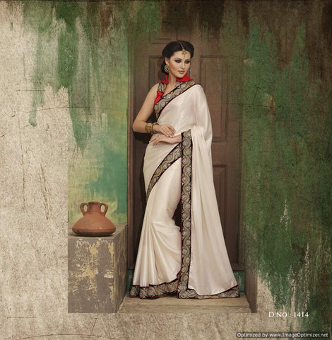 White 60 Gram Saree with hand work and Embroidery