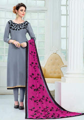 Grey Silk Straight Suit With  Dupatta