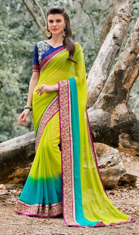 Multicolor,Georgette,Party wear designer light weight saree