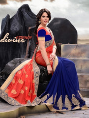 Blue and Orange Georgette Saree with heavy Zari Booti Work
