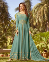 Blue Georgette Party Wear Anarkali With Blue Dupatta