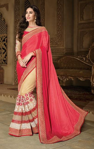 Red , Beige,Chiffon,Heavy designer wedding wear saree
