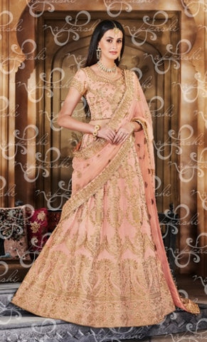 Peach Net Wedding Wear Lehenga With Peach Dupatta