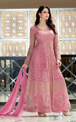Pink Net Party Wear  Anarkali With Pink Dupatta