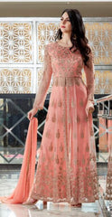 Peach Net Party Wear  Anarkali With Peach Dupatta