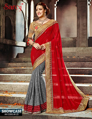 Red , grey,Georgette,Heavy designer saree with heavy embroidery work on blouse