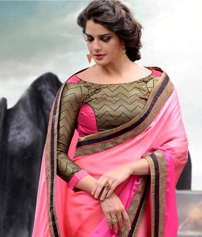 Partywear Crepe Sik Saree in Shades of Pink along with lace border
