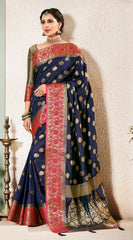 Blue Weaving Silk Party Wear Saree With Blouse