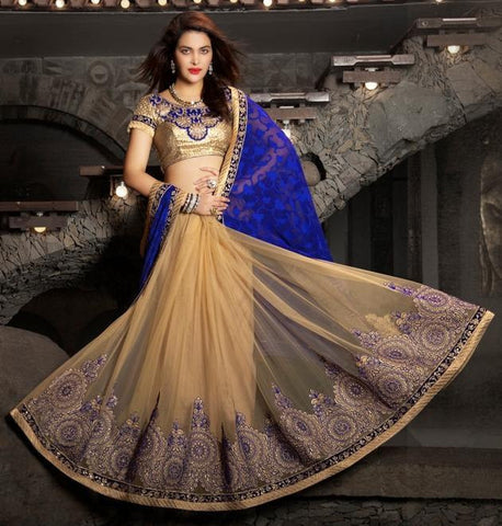 Saree Blue , Beige,Jacquard