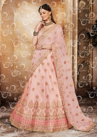 Pink Net Wedding Wear Lehenga With Pink Dupatta