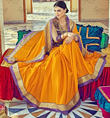 Yellow,Satin chiffon,Party wear designer embroidery work saree