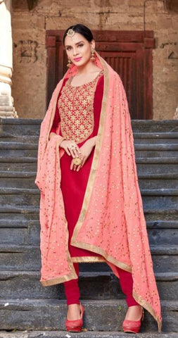 Red Silk Party Wear  Salwar Suit With  Dupatta