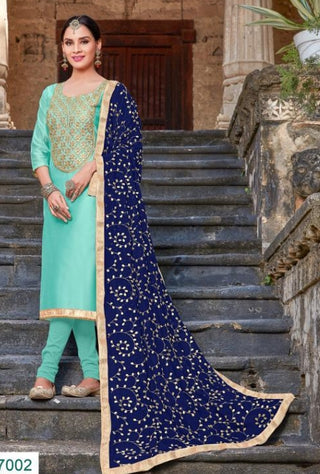 Light Blue Silk Party Wear  Salwar Kameez With  Dupatta