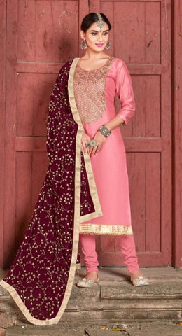 Pink Silk Party Wear  Salwar Kameez With  Dupatta