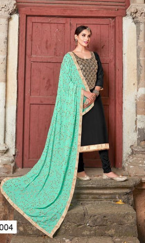Black Silk Party Wear  Salwar Kameez With  Dupatta