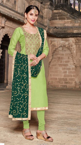Light Green Silk Party Wear  Salwar Kameez With  Dupatta