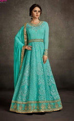 Blue Georgette Anarkali Suit With Blue Dupatta