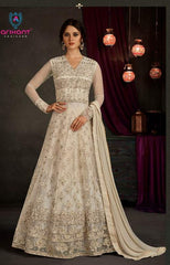 White Net Anarkali Suit With White Dupatta