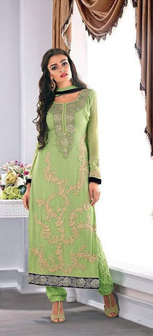Green  ,Georgette,Designer long straight suit