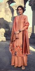 Copper Brown Pashmina Party Wear Salwar Kameez With  Dupatta