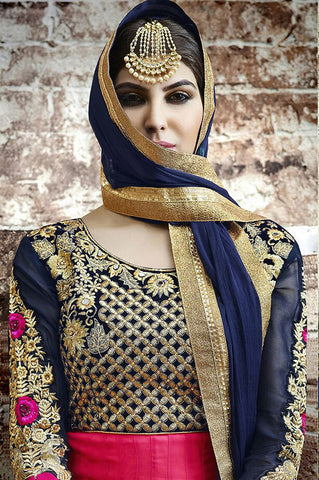Pink , Blue,Pure Georgette,Heavy anarkali designer suit