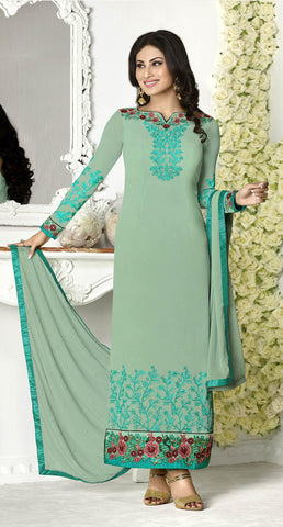 Green,Georgette,Straight designer party wear suits