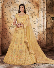 Yellow Net Wedding Wear Lehenga With Yellow Dupatta