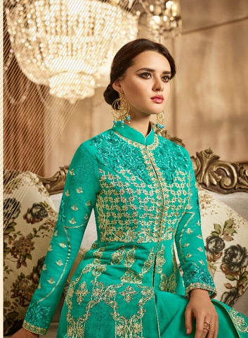 Georgette Cyan Anarkali With Dupatta