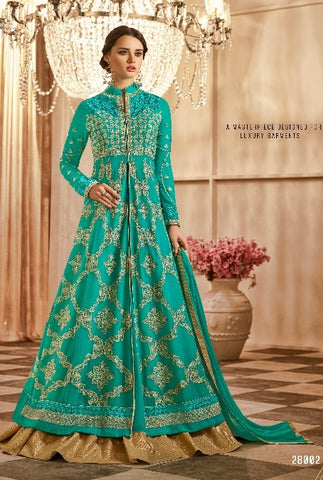 Cyan ,Georgette,Party wear suits