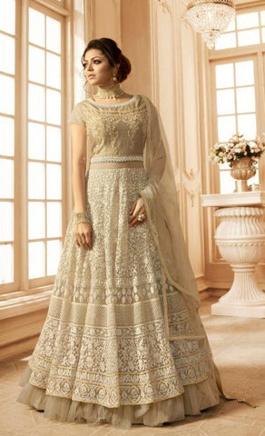 Beige Banglori Silk Party Wear Anarkali With Beige Dupatta