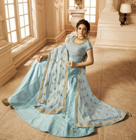 Blue Satin Party Wear Anarkali Dress With Blue Dupatta