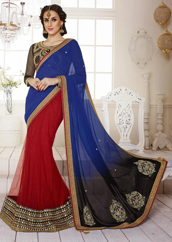 Dark Old Rose,Net Jacquard, Net , Satin,Designer wedding saree with heavy embroidery work