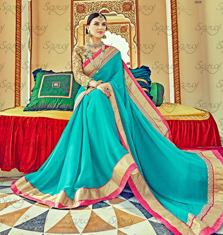 Cyan,Satin chiffon,Party wear designer embroidery work saree