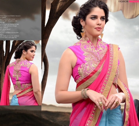 Blue and Pink Shaded Party Wear half and half Saree  with zari and heavy border