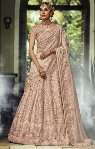 Beige Organza Party Wear Lehenga With Beige Dupatta
