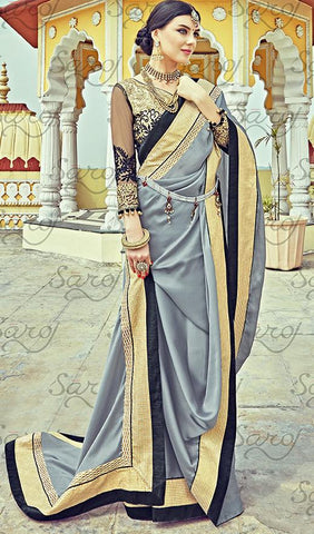 Grey,Satin chiffon,Party wear designer embroidery work saree