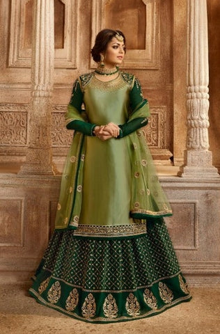 Green Satin Georgette Sharara Salwar Suit With  Dupatta