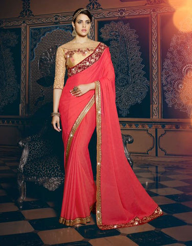 Red,Pure Georgette,Designer party wear saree