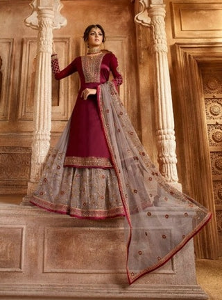 Maroon Satin Georgette Sharara Suit With  Dupatta