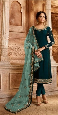 Cyan Satin Georgette Sharara Suit With  Dupatta