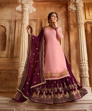 Pink Satin Georgette Sharara Salwar Kameez With  Dupatta
