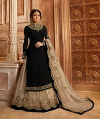 Black Georgette Sharara Salwar Kameez With  Dupatta