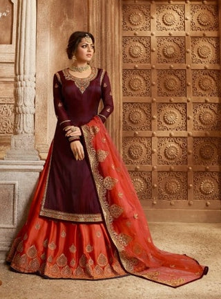 Maroon Silk Sharara Salwar Kameez With  Dupatta