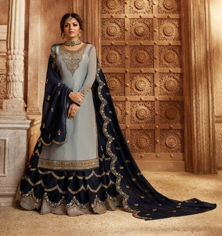 Grey Satin Georgette Sharara Suit With  Dupatta