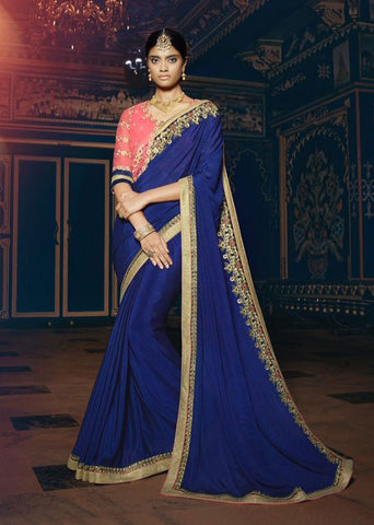 Blue,Pure Georgette,Designer party wear saree