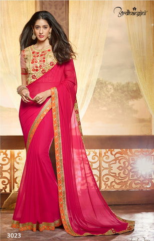 Designer Dark Pink Saree