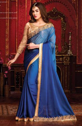 Blue,Chiffon,Party wear designer saree